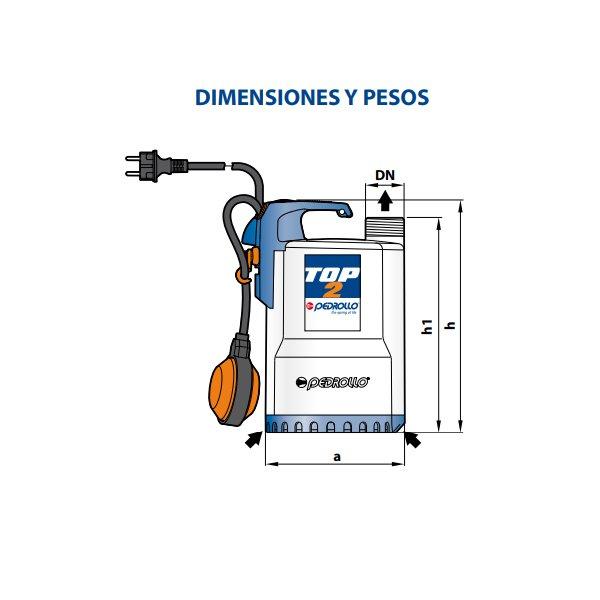 Bomba Sumergible Drenaje de 0.5 HP Pedrollo Modelo TOP 2 Dimensiones