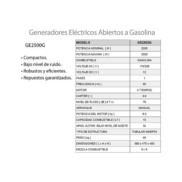 Planta Eléctrica Gasolina 2.5 kw Arvek Características
