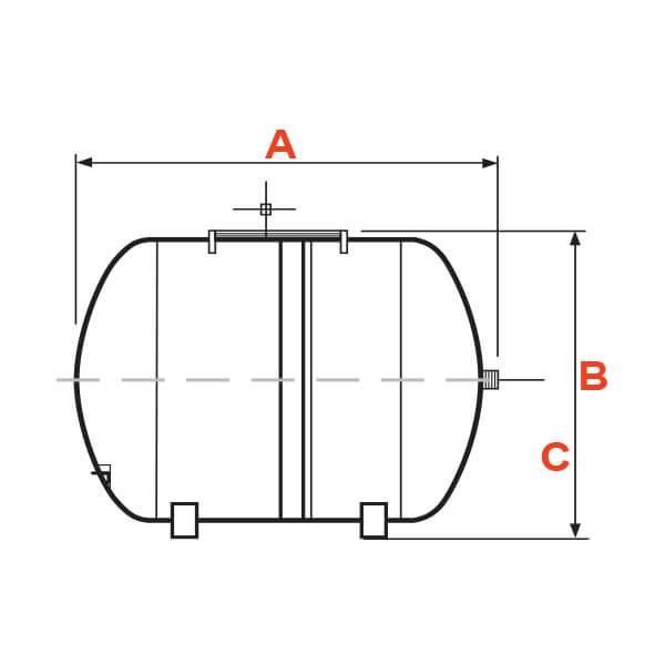 Tanque Alta Presión 100 Litros Horizontal Metálico en Diafragma Pearl Dimensiones