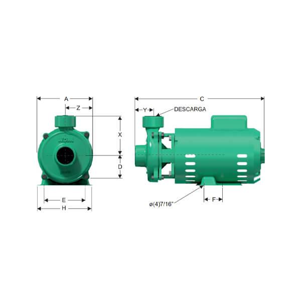 Bomba Caracol 2 HP 110/220 Voltios Barnes Dimensiones