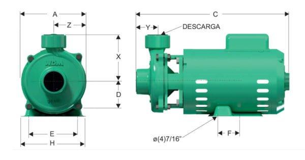 Bomba Caracol de 0.5 HP Barnes Dimensiones