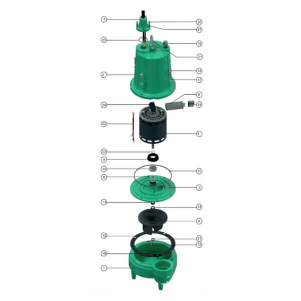 Bomba Sumergible Aguas Negras 0.5 HP Monofasica Barnes Partes