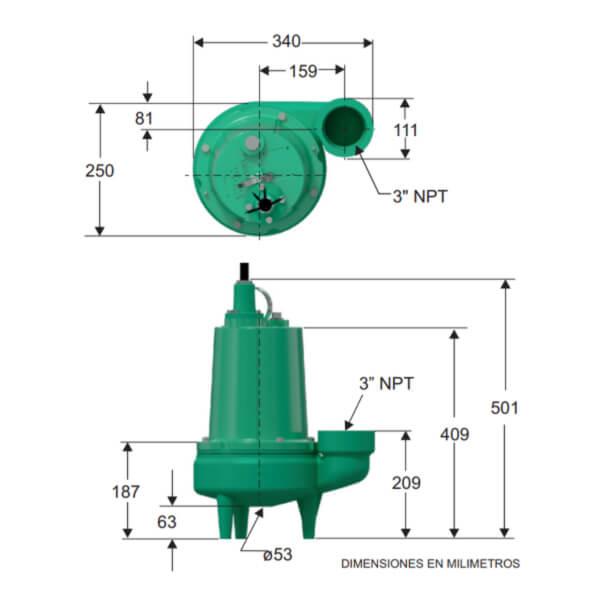 Bomba Sumergible Aguas Negras 1 HP Monofasica Barnes Dimensiones