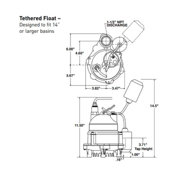 Electrobomba Drenaje 1/3 HP Myers Flotador Atado