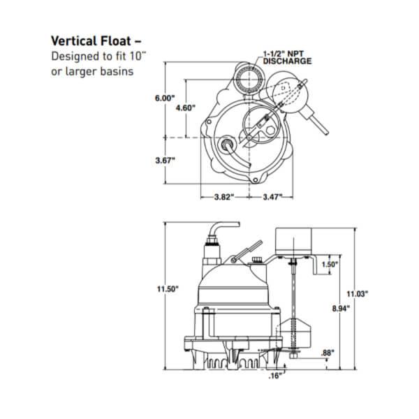 Electrobomba Drenaje 1/3 HP Myers Flotador Vertical