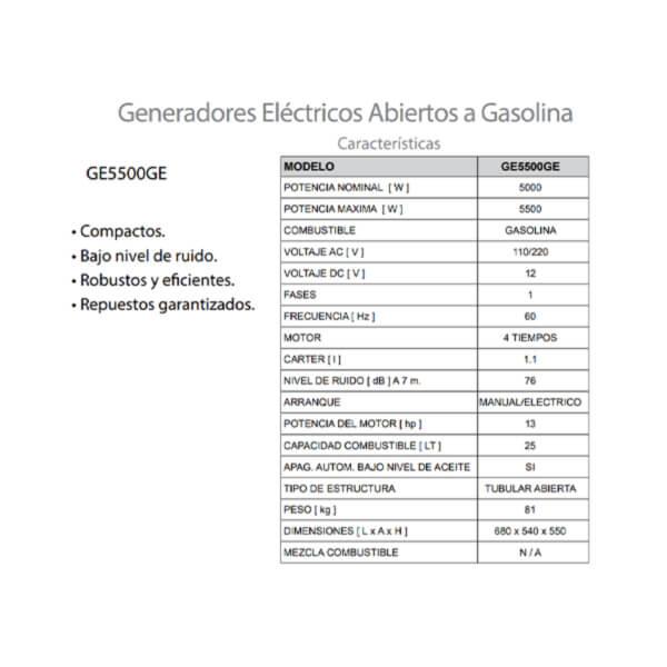 Planta Eléctrica Gasolina 5.5 kw 13 HP 60 Hz 110/220 Voltios Arvek Características