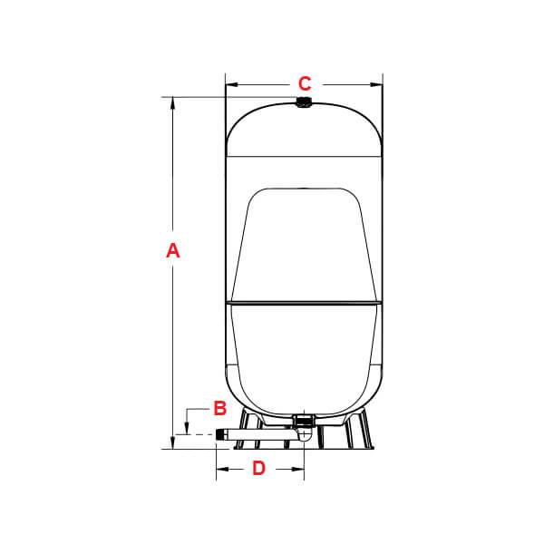 Tanque Alta Presión Fibra de Vidrio 200 Litros Vertical Pearl Dimensiones