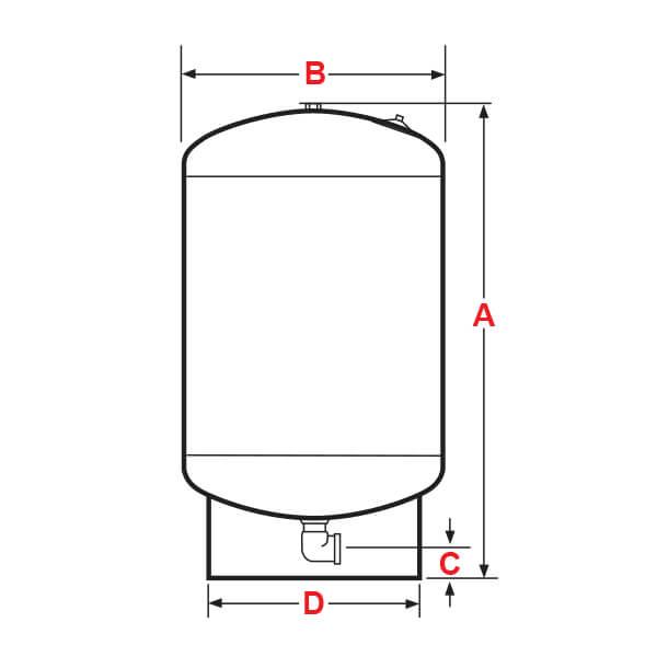 Tanque Diafragma Vertical 200 Litros 150 PSI Dimensiones