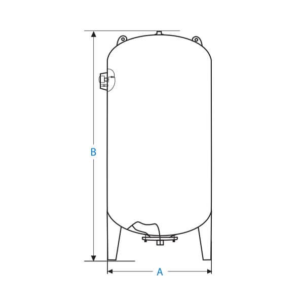 Tanque Vertical Membranas Intercambiables 200 Litros Diagrama